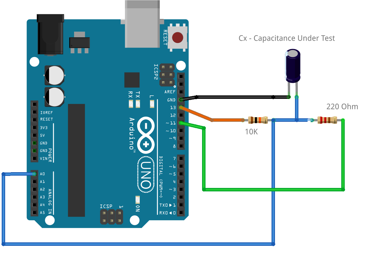 Capacitance Measurement Using Arduino Capacitors In Series And Capacitor Circuits Circuit