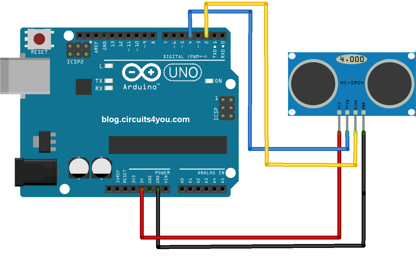 Ultrasonic Distance Sensor Connections with Arduino