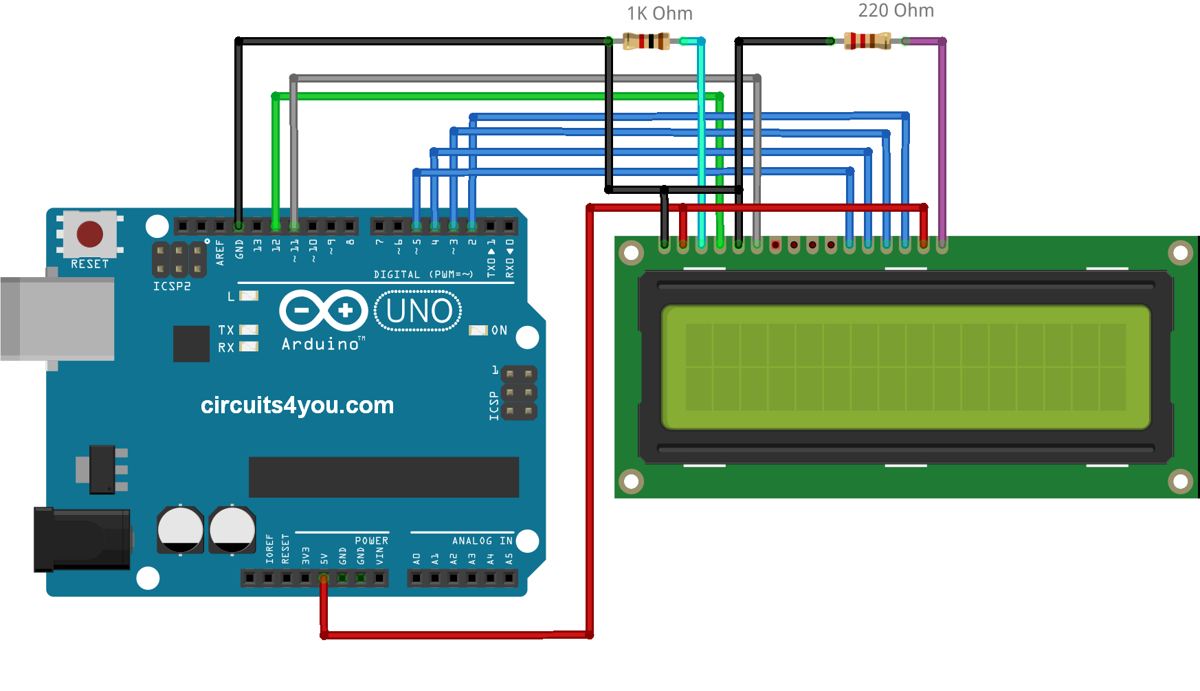 LCD Arduino Circuit 16�2 lcd display interface with arduino circuits4you com arduino lcd wiring diagram at virtualis.co