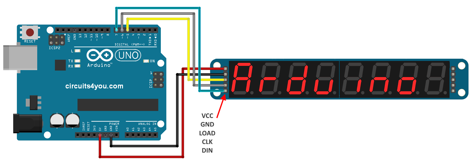 MAX7219 Display Module Connections with Arduino
