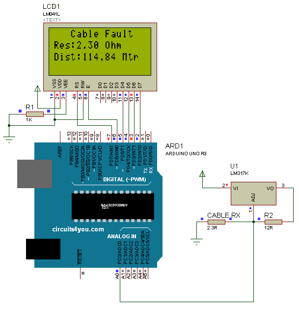 Ground Fault Locator : Arduino based underground cable fault detection