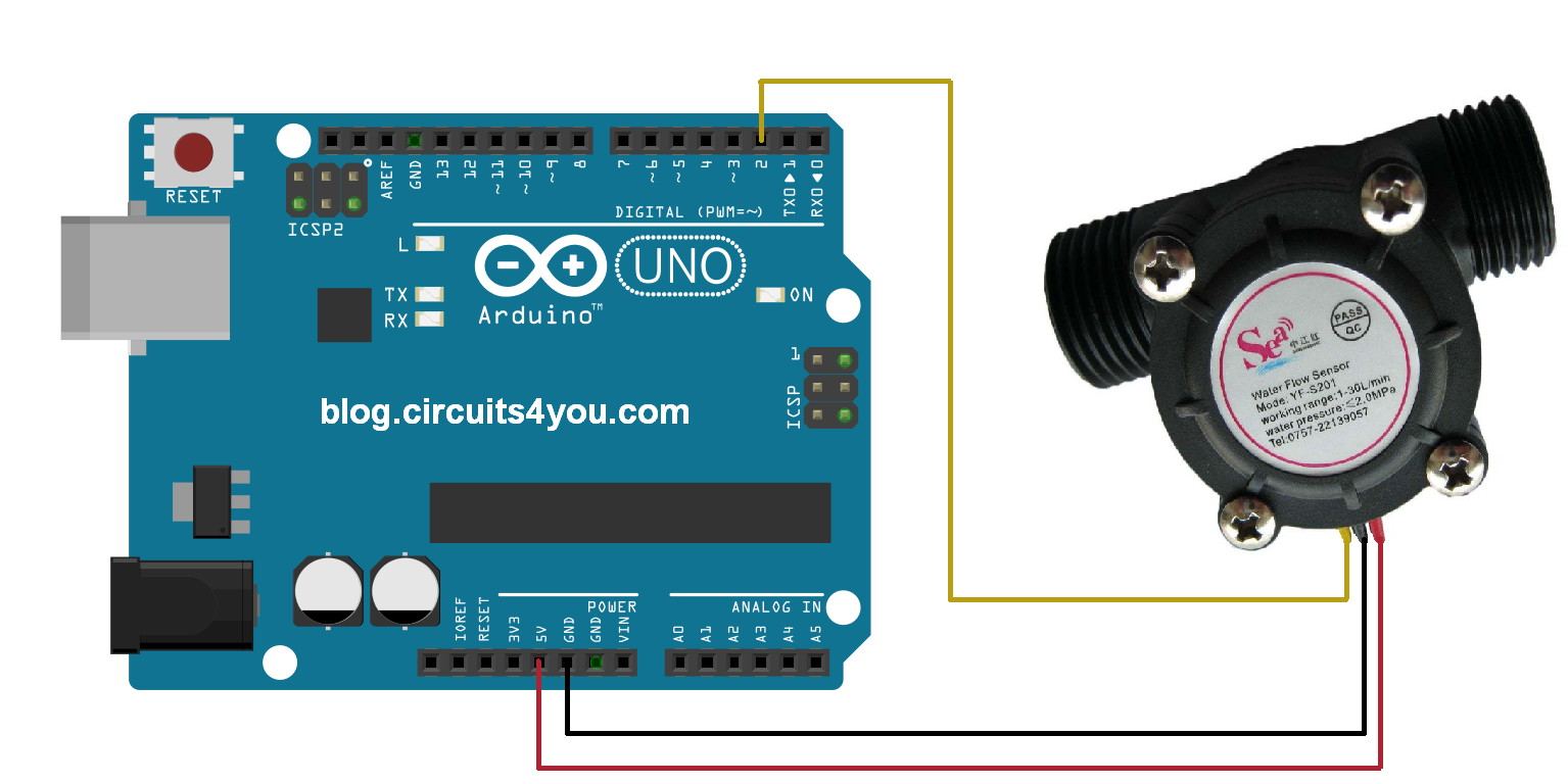 Water flow measurement with Arduino | Circuits4you com