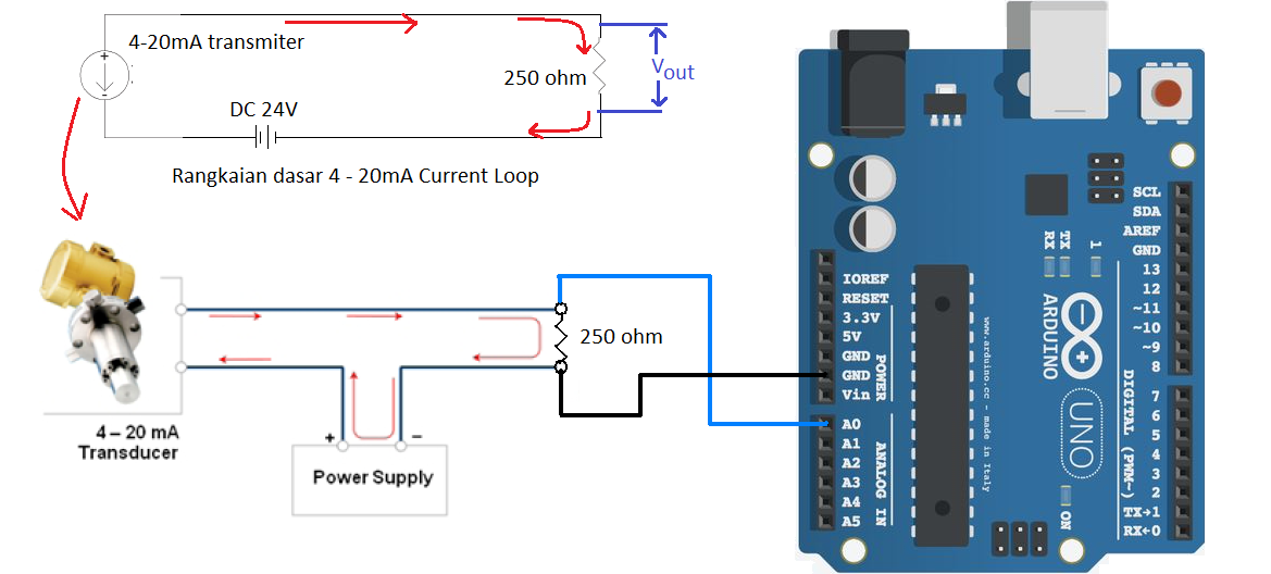 4-20mAmp Current loop measurement arduino circuit