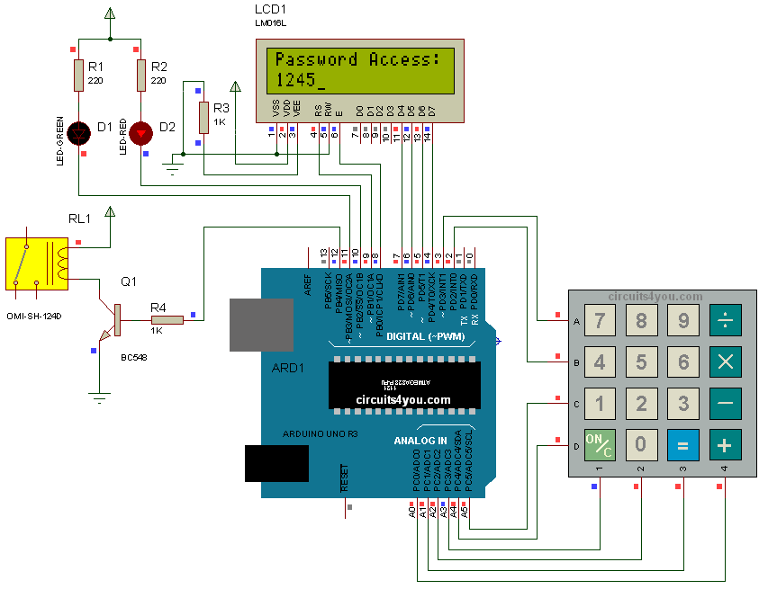 Digital Code Lock Using Arduino Circuits4you Com
