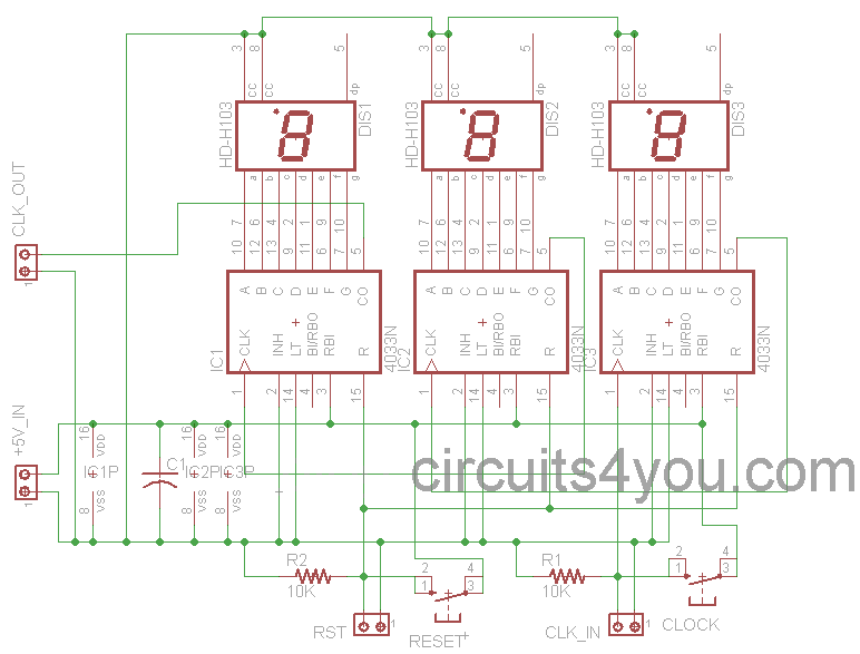 Three Digit Object Counter | Circuits4you.com