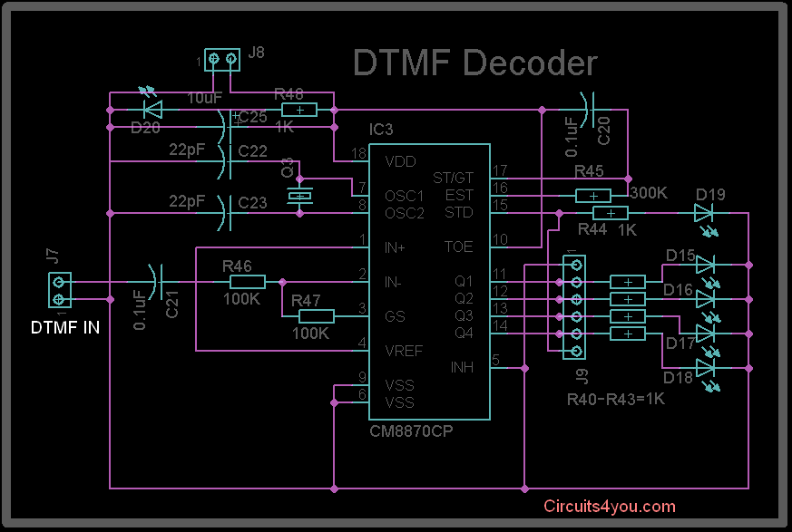 DTMF MT8870 Decode Circuit