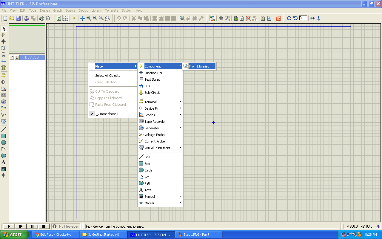 Getting Started With Proteus All New 8 Circuit Designing And Simulation Software Blogging Adding Components To Work Space