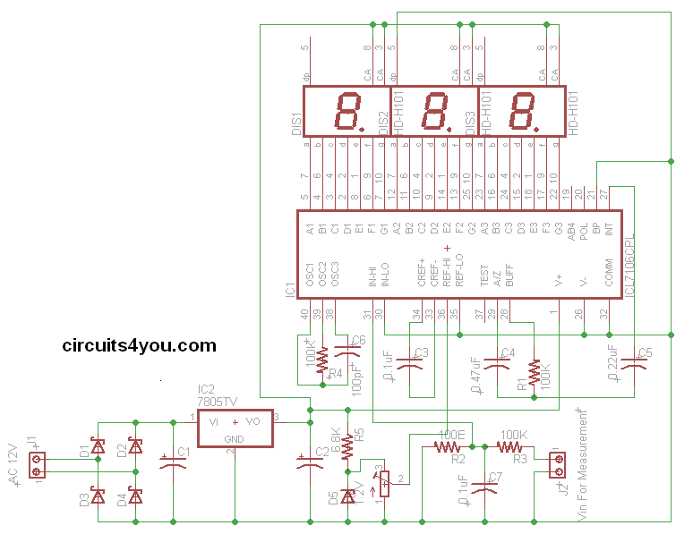 ICL7107 Voltmeter Circuit Diagram