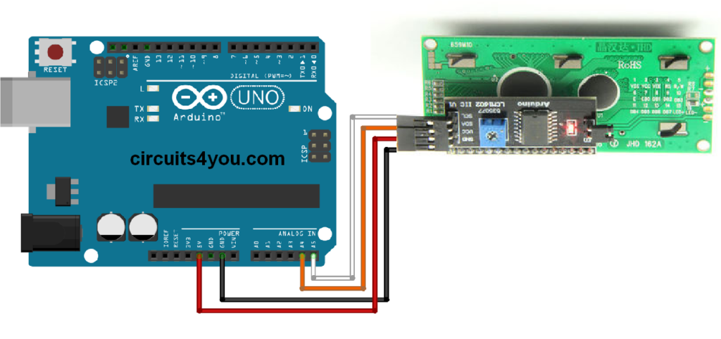 Lcd interface using i c module with arduino circuits you