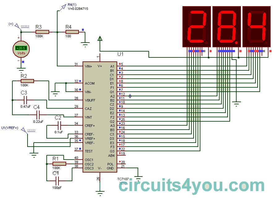 icl7107 digital voltmeter circuits4you com simple digital voltmeter circuit diagram digital voltmeter circuit using icl7107