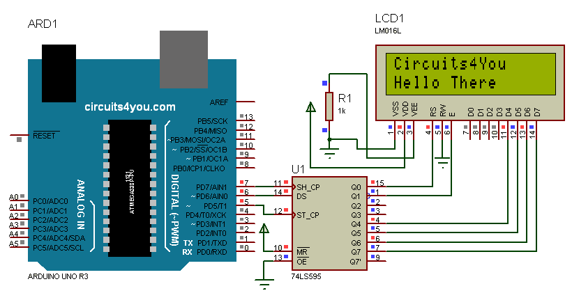 3 Wire LCD Interface with Arduino Circuit