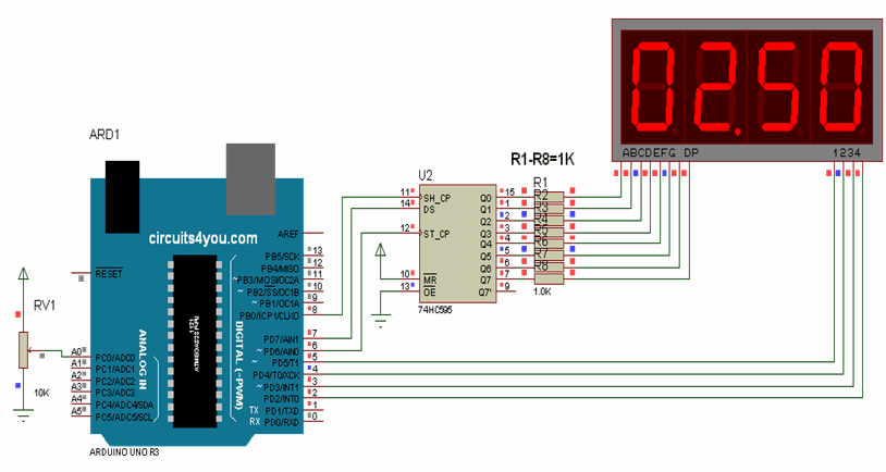 7-segment display interface with arduino circuit