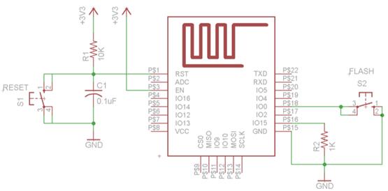 reset and programming circuit of esp8266