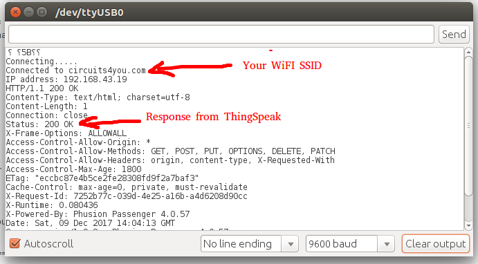 ThingSpeak Response on Serial Monitor