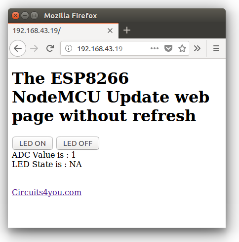 ESP8266 (ajax) update part of web page without refreshing