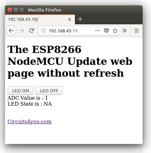 NodeMCU Ajax javascript Example