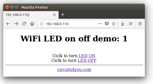 NodeMCU LED on off web server