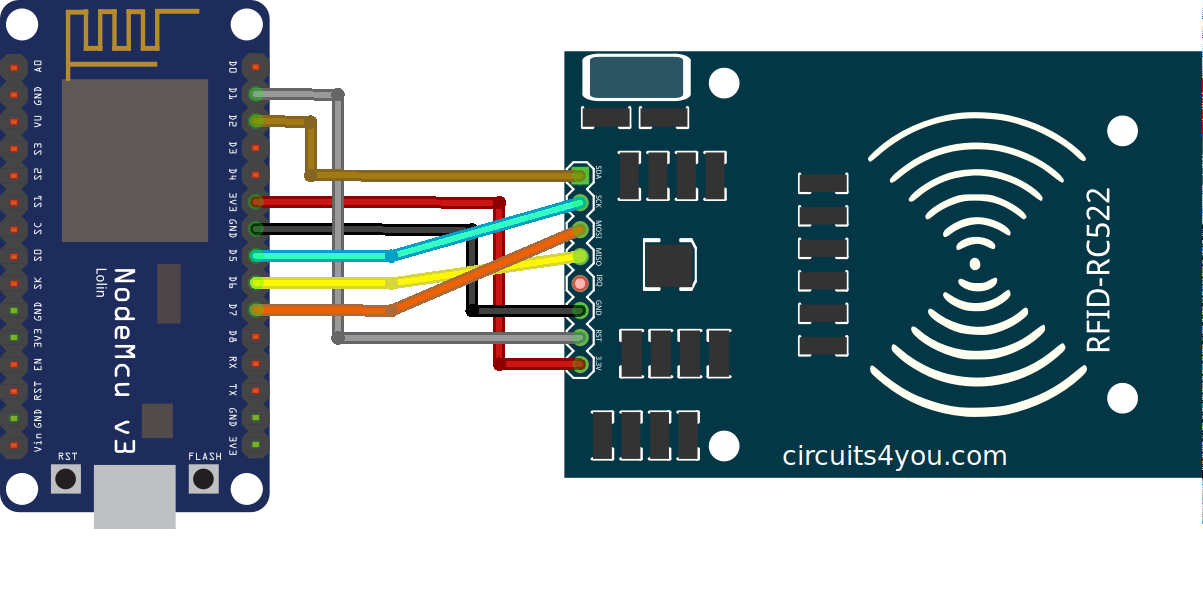 RFID Reader MFRC522 interface with NodeMCU using Arduino IDE