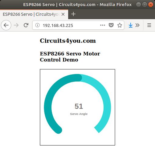 ESP8266 Servo Motor Control using web
