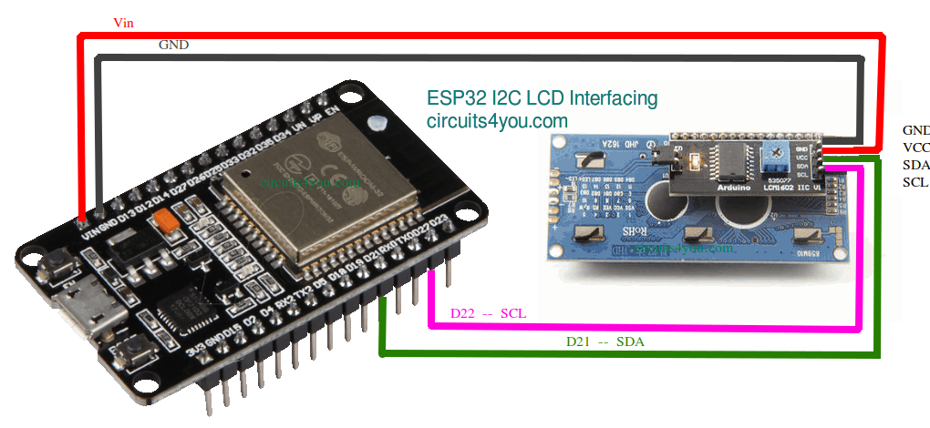 ESP8266 or ESP32 I2C LCD display Interface | Circuits4you com